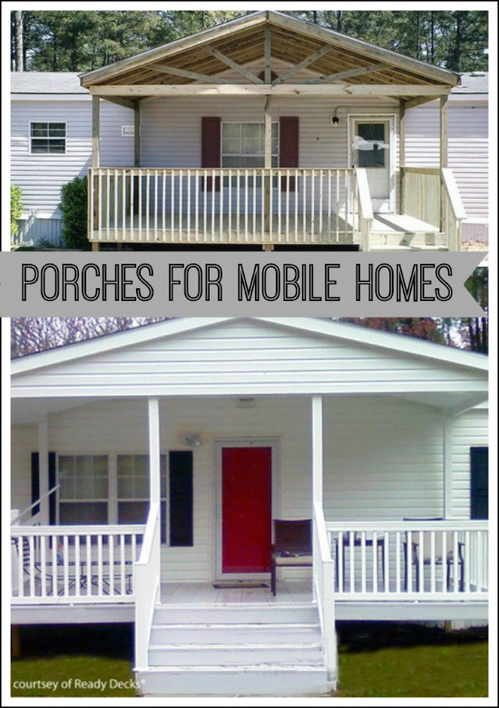 Enhance the charm of your mobile home with a front porch addition. Photo courtesy of Ready Decks