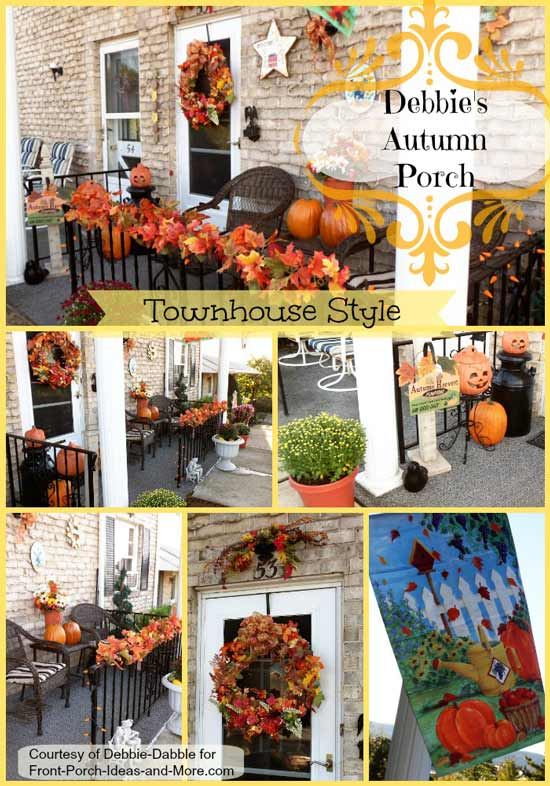 Debbie has a delightful townhouse porch decorated for fall