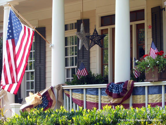 4th of July star decorations on front porch