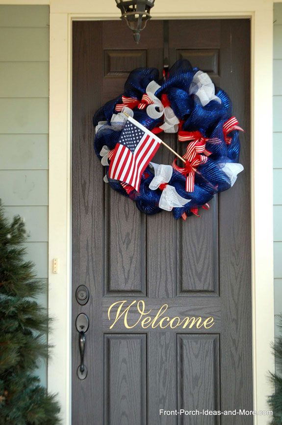front porch 4th of July deco mesh wreath