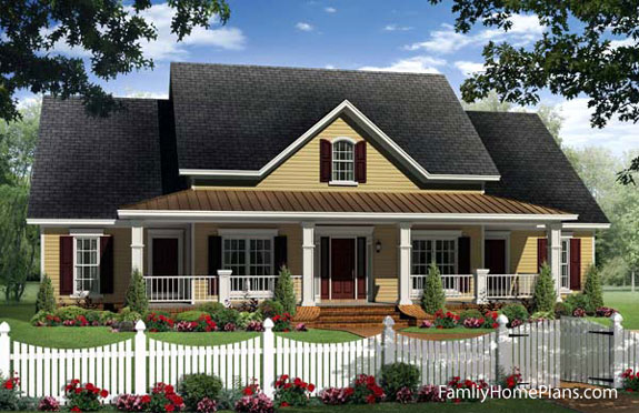 country cottage home with front porch by familyhomeplans.com