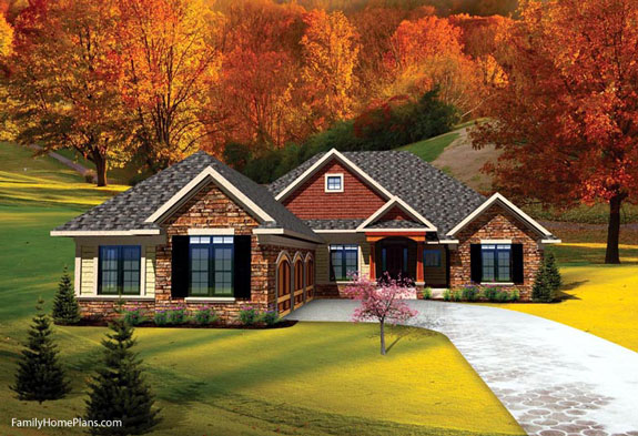 contemporary style ranch home from plan 73141 Family Home Plans