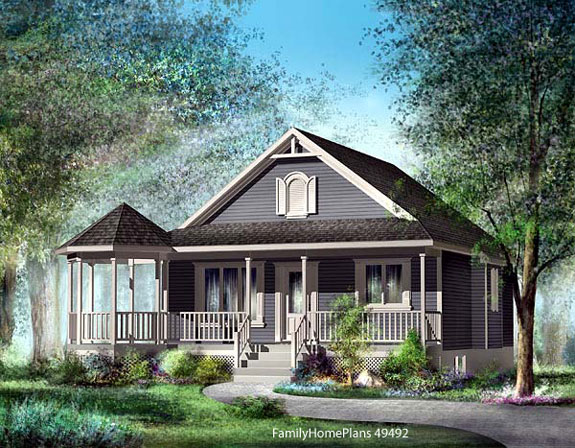 charming bungalow with veranda and pergola from familyhomeplans.com 49492