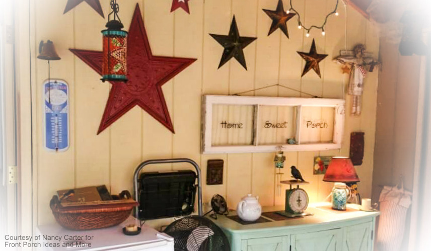 Nancy's back porch is beautifully decorated with stars
