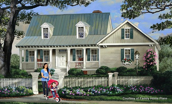 Adorable house with a sweet front porch from Family Home Plans #86345 and shown on Front Porch Ideas and More
