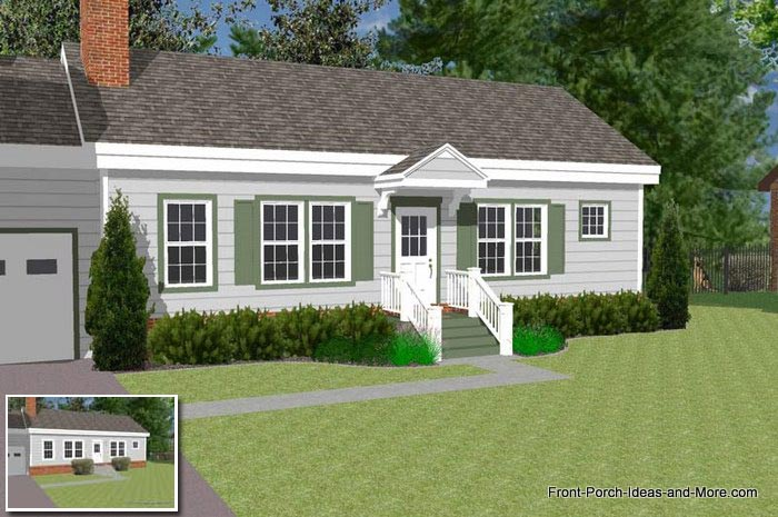 A basic ranch home with a small porch / portico