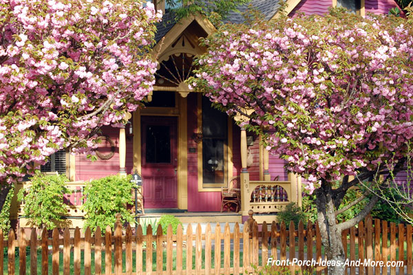 spring blooms on trees in front of porch