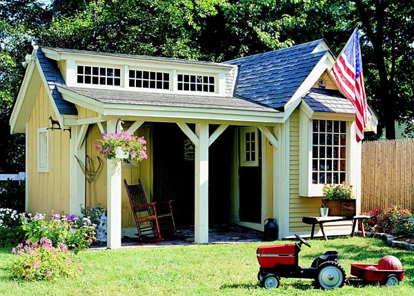A shed with a pretty porch - this is a plan you can purchase