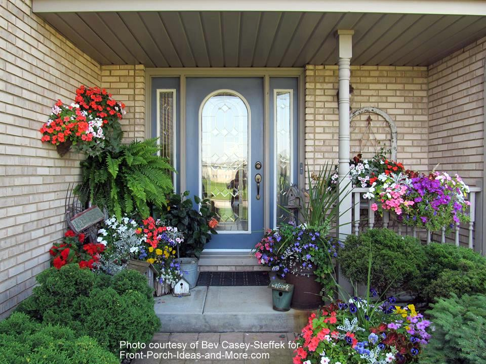 Bev's porch with beautiful flowers