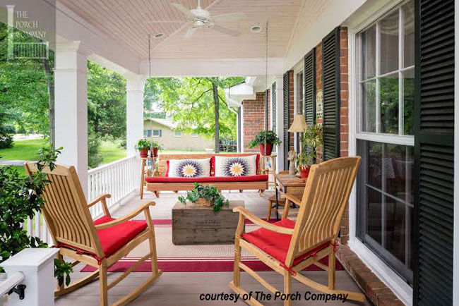 Front Porch Swing with colorful porch cushions