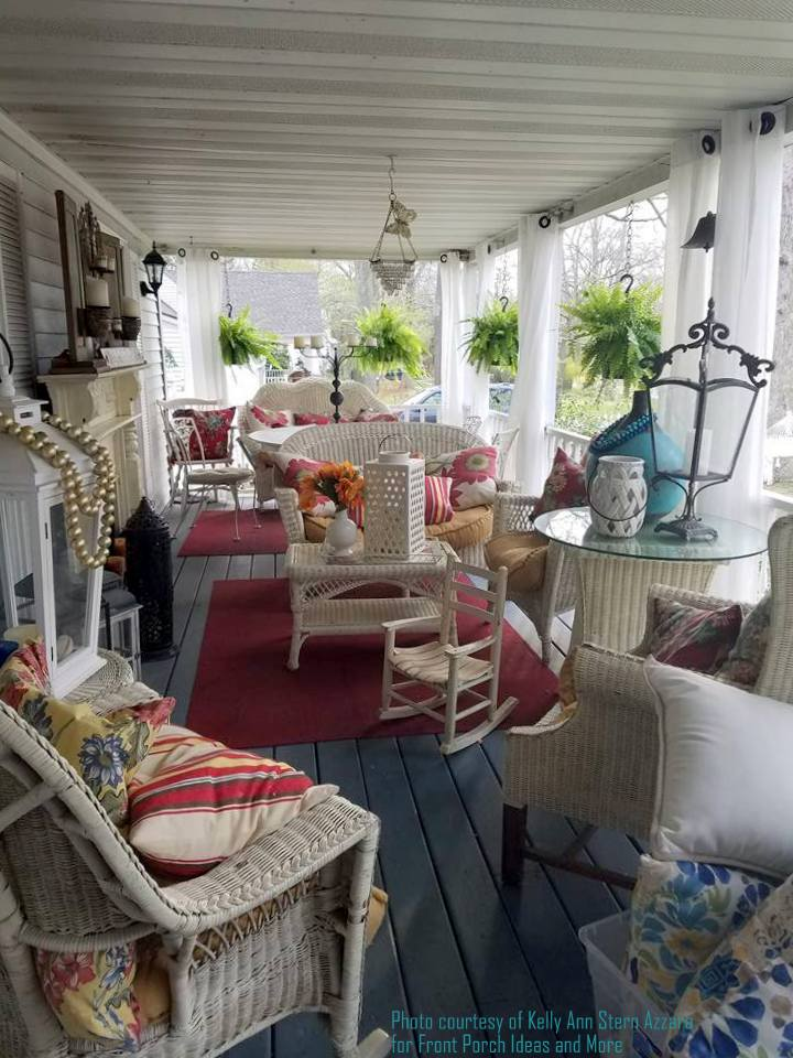 Kelly Ann's porch curtains add a delightful and whimsical dimension to her front porch