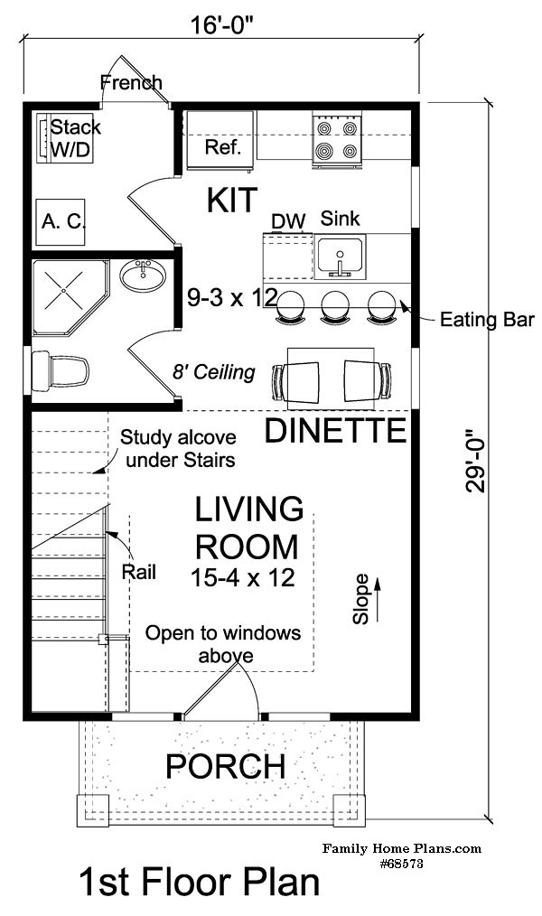 schematic of small house plan design from Family Home Plans