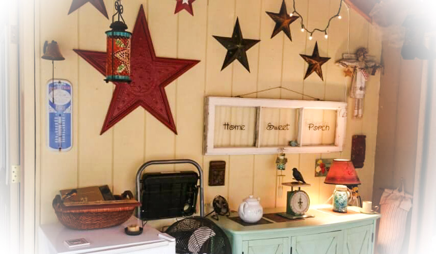 Nancy's friendly back porch is decorated with a collection of Americana stars