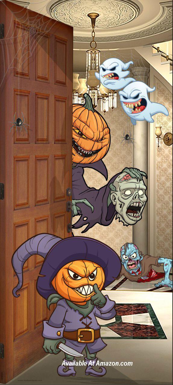 pumpkin heads door cover for Halloween from amazon.com