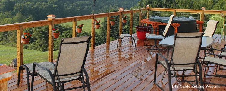 DIY Cable Railing Systems deck with steel cable railings