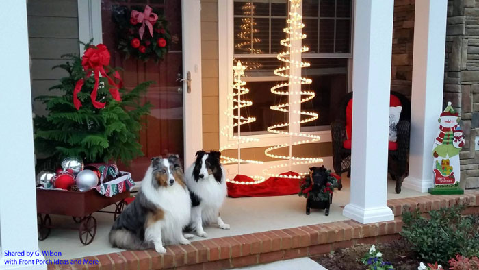 Gerri's two pups enjoy being on the porch when she is outside working