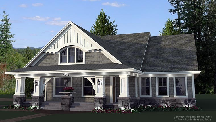 house plan rendering with front porch from Family Home Plans
