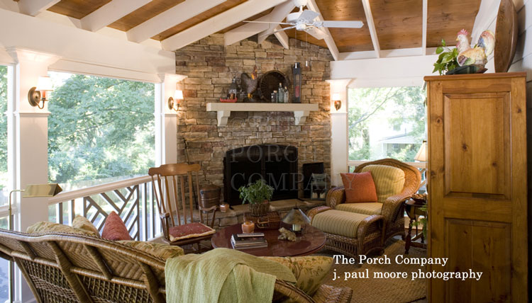 beautifully furnished screened porch design by The Porch Company