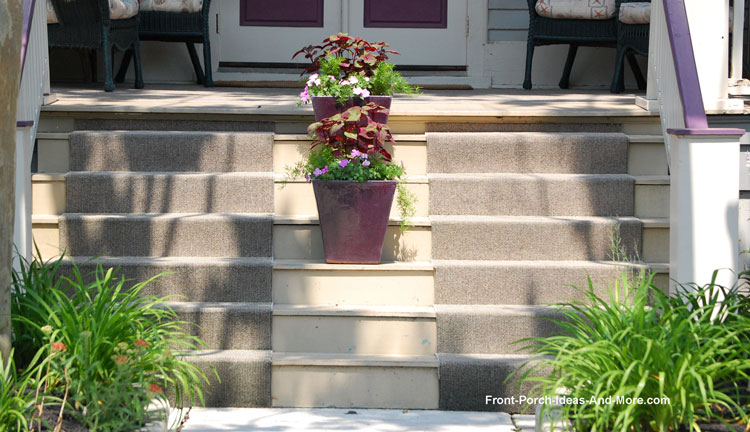 partially carpeted front porch steps