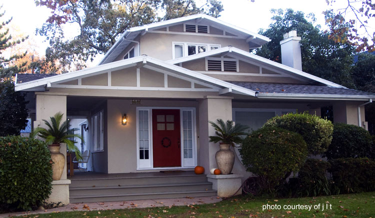 airplane bungalow Craftsman style porch with colorful landscaping
