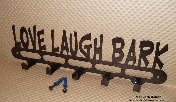 dog leash holder with love, laugh, bark insignia