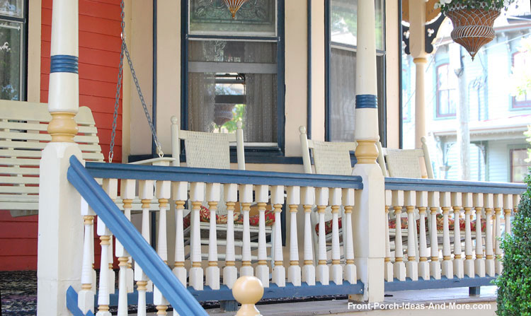 complementary colored turned porch balusters