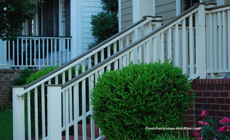 Attractive hand rails on front porch steps