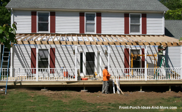 front porch being constructed