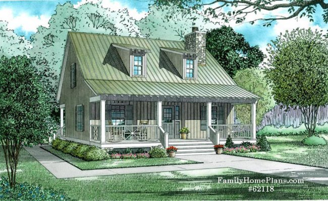 small cottage home plan with wide front porch and open concept living