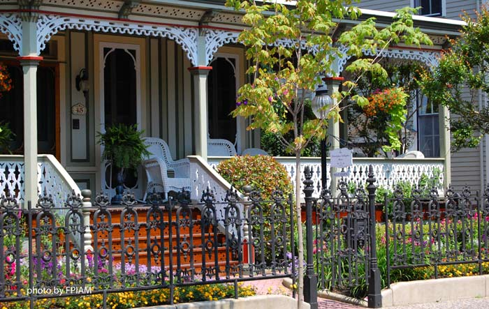 front view of a Victorian front porch