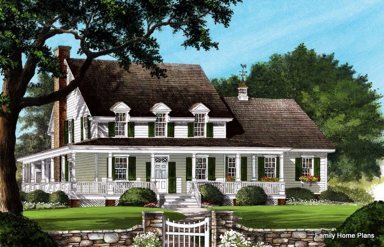 Wonderful wraparound porch on this sprawling farmhouse - Family Home Plans