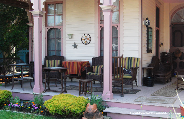typical wood porch floor on Victorian front porch