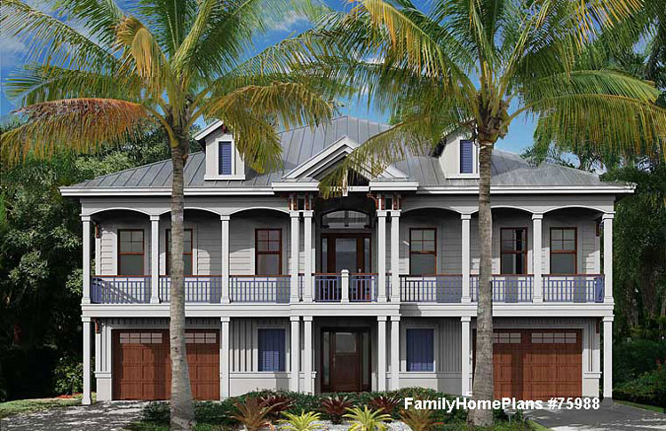 beach home plan with two front porches