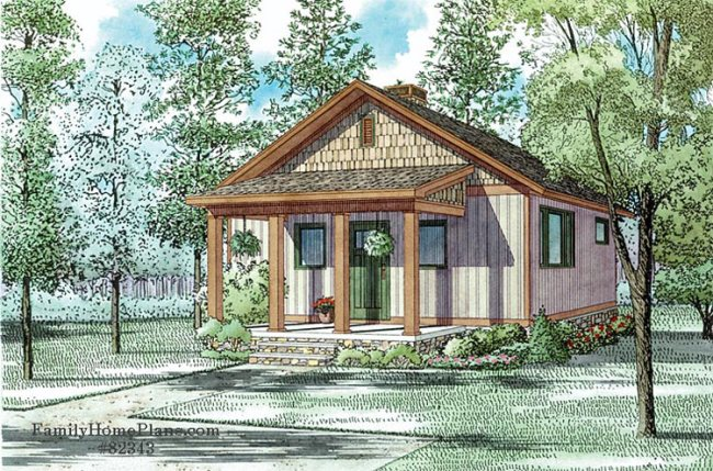 quaint cottage home plan with a shed roof front porch