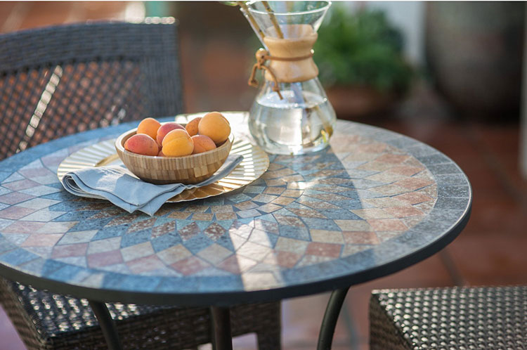 contemporary bistro table on patio