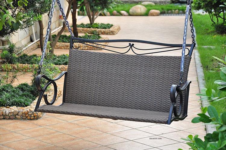 valencia wicker porch swing on patio