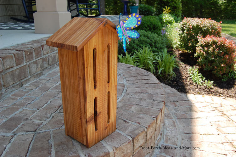 stained cedar butterfly house