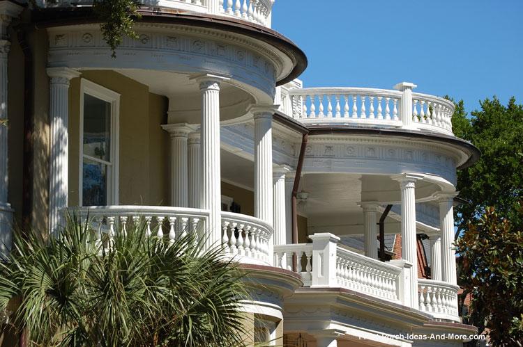 classic round porches in Charleston SC