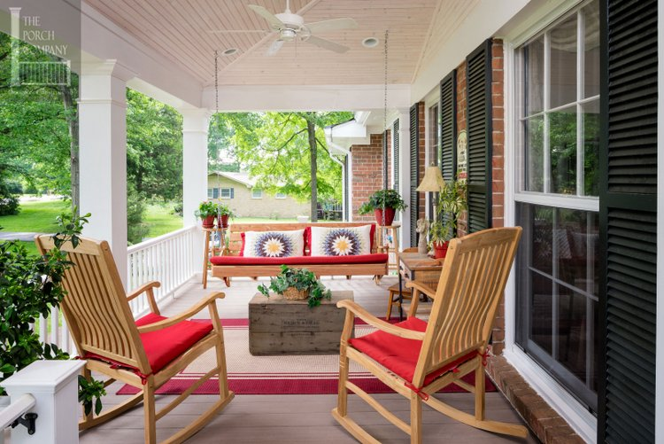 charming porch designed and built by the Porch Company
