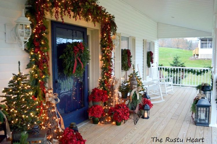 rocking chair front porch decorated for Christmas