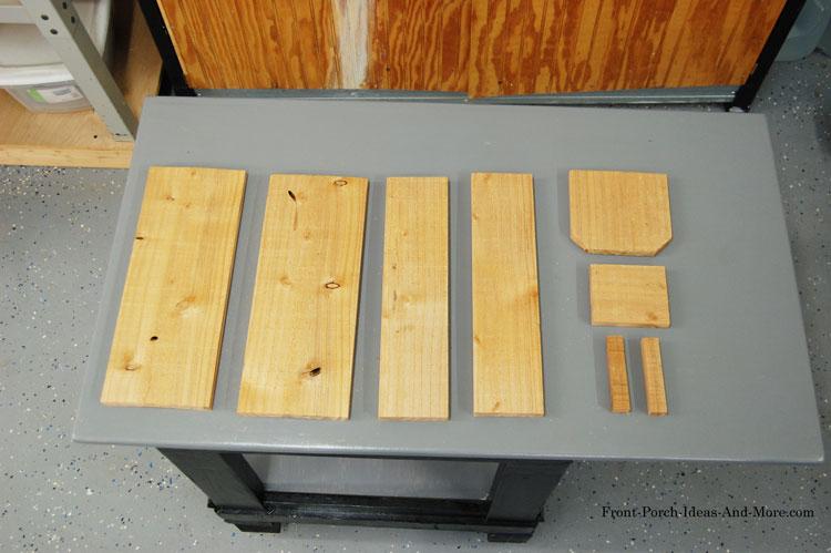 cedar fence slat cut into pieces for butterfly house