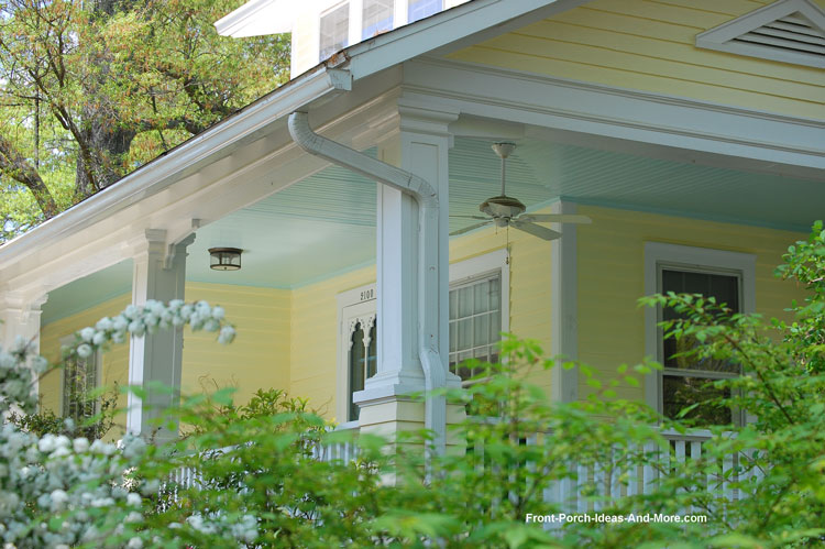 front porch with haint blue ceiling beadboard