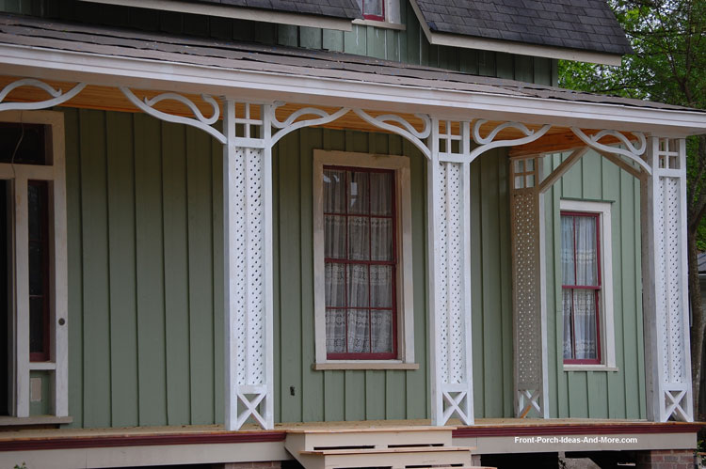 lattice style columns on porch