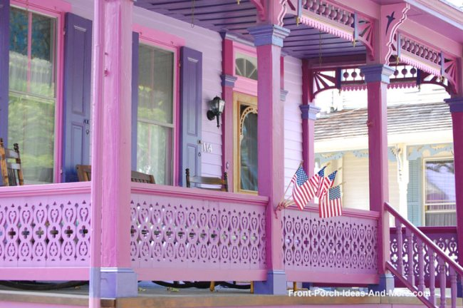 sawn balusters painted a bright pink color