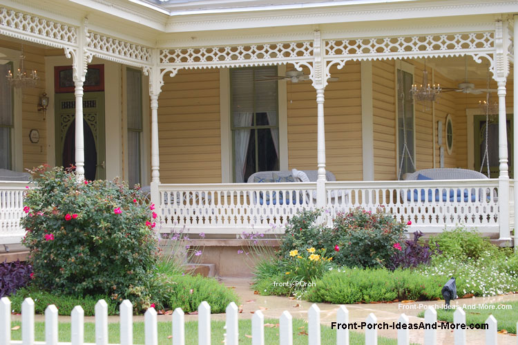 wood sawn balusters (railings) on classic farmhouse front porch