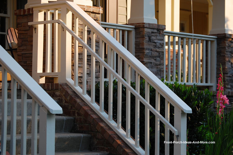 Beautiful front porchb stair hand rails