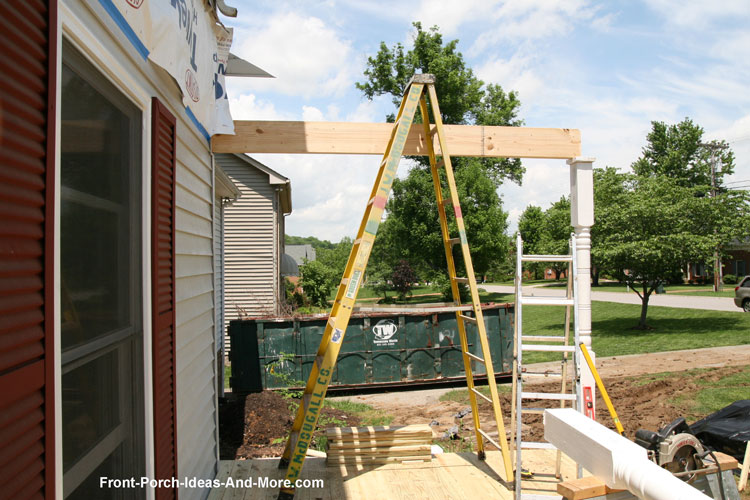 Setting up the first porch column