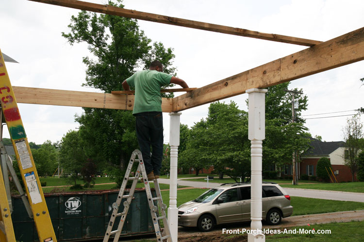 Setting header for porch roof