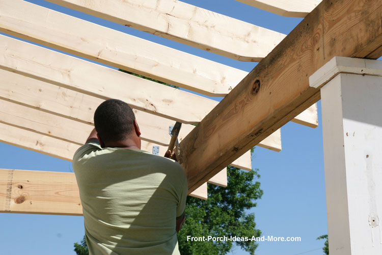 installing rafters for new front porch roof