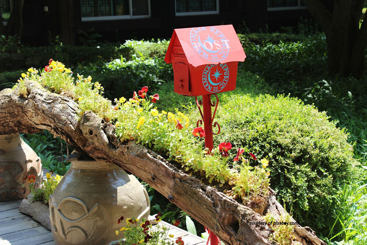 mailbox surrounded by beautiful landscaping